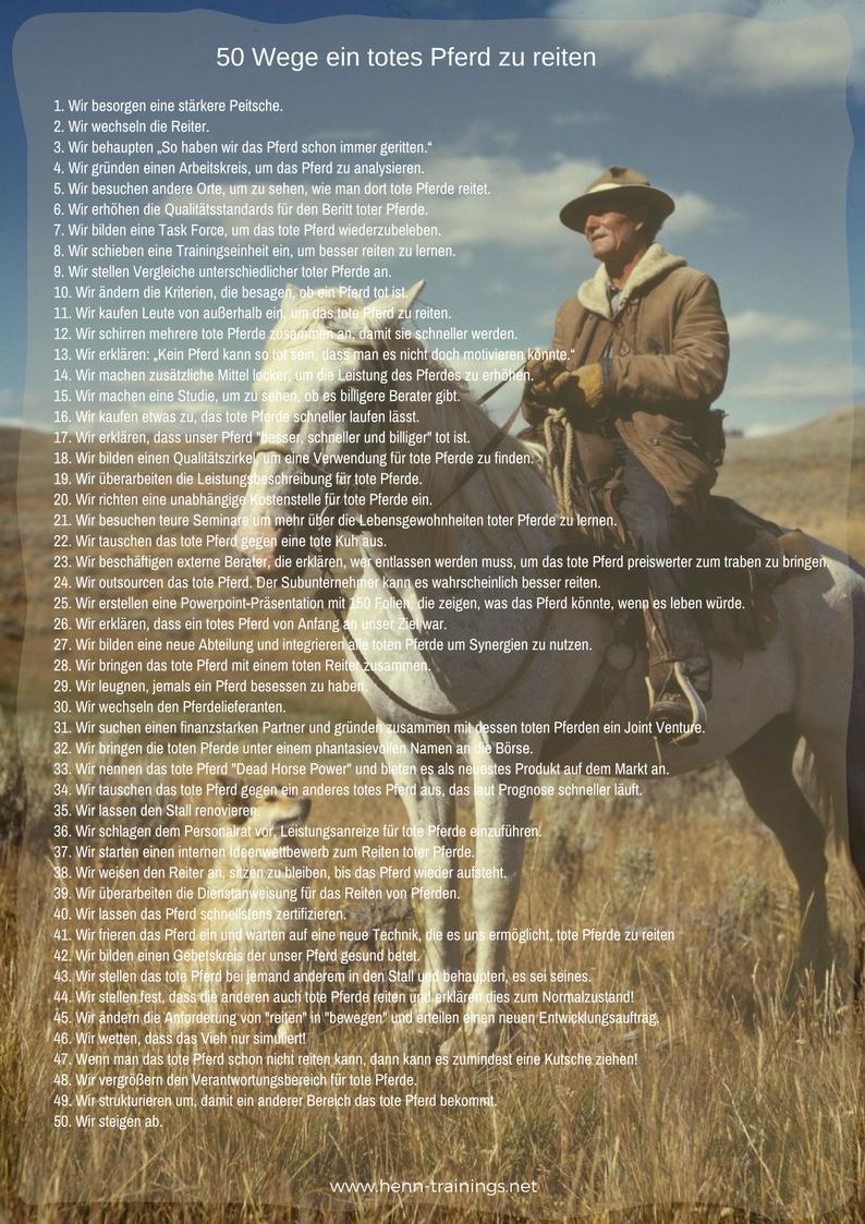 50 Wege ein totes Pferd zu reiten